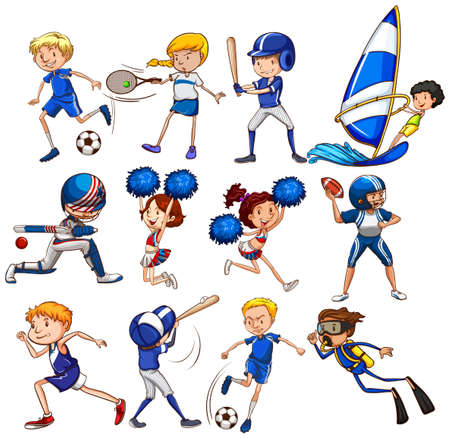 sport cartoon: Set of sports in blue color on white background