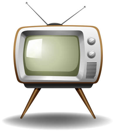style: Old style television on a white background