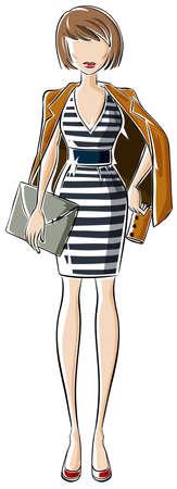 attire: SKetch of a woman in fashion attire Illustration
