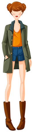 outfit: Sketch of female in casual outfit