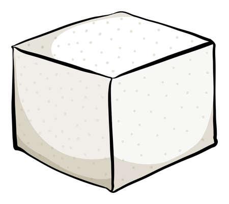 White sugar cube on white background