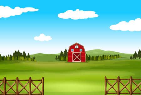 Barn in a big green farm with fence