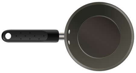 cooking utensils: Black non stick cooking pan Illustration