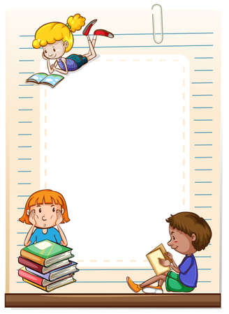 Children reading books design frame