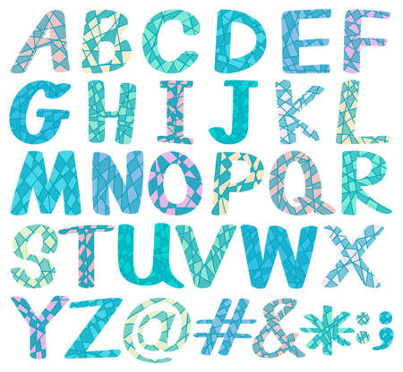english letters: Uppercase blue design alphabets and symbols