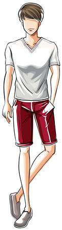 fashion illustration: Sketch of a male in white t-shirt and red shorts Illustration