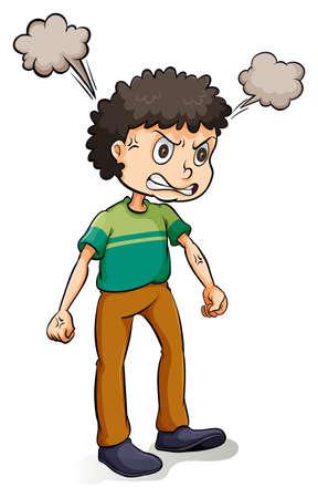 hot temper: Hombre con una expresión de enojo en el fondo blanco Vectores