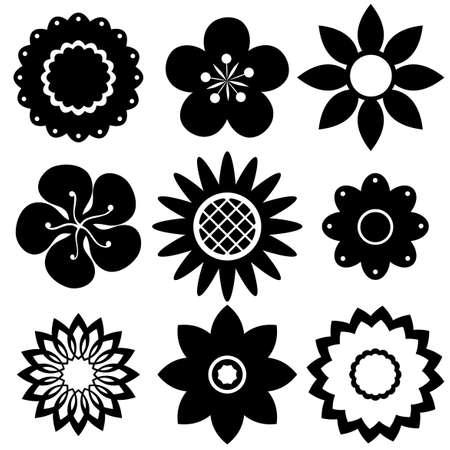 Blumen-Designs In Schwarz Und Weiß Lizenzfrei Nutzbare ...