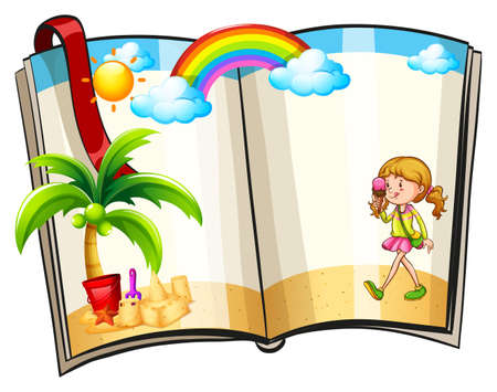 Pages in a book with summer theme border Vector