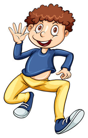 waving hand: Happy man with waving hand on white background Illustration