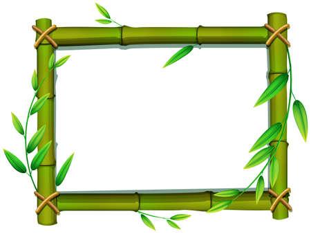 Frame van bamboe en groene bladeren