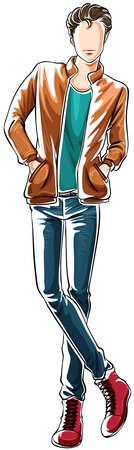 ふだん着: カジュアルな服装で男のスケッチ