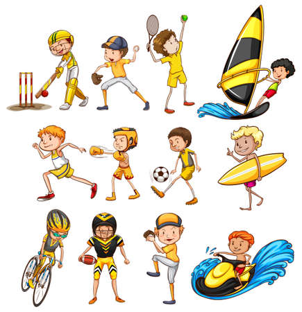 surf team: Set of different kinds of sports