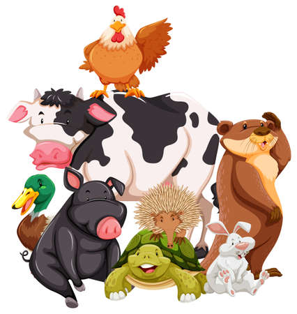 cartoon chicken: Group of animals on white background