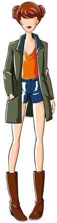 outfit: Sketch of female in fashion outfit Illustration