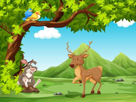 animales del bosque: Paisaje de los animales se sientan bajo un �rbol grande Vectores
