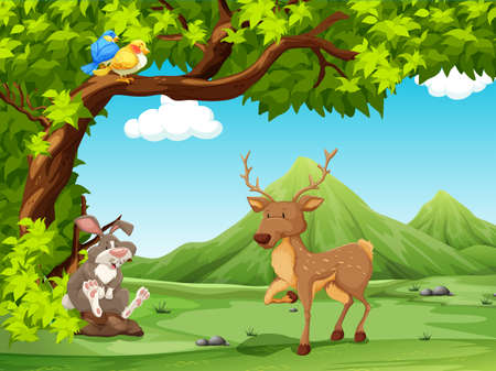 Scenery of animals sitting under a big tree Illustration