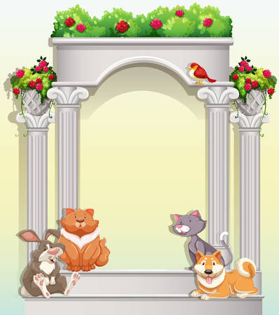 plant stand: Entrance decoration with flowers and sitting animals