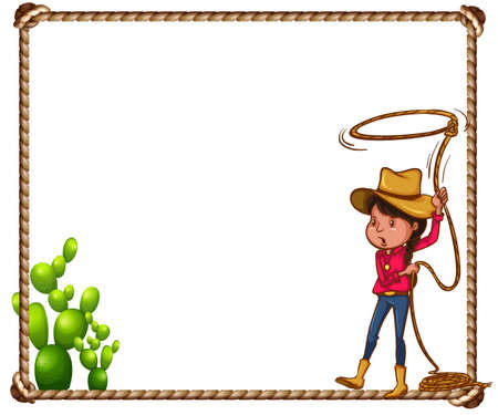 Cowboy theme frame with rope and cactus