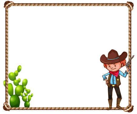 Frame of cowboy theme on white background Vector