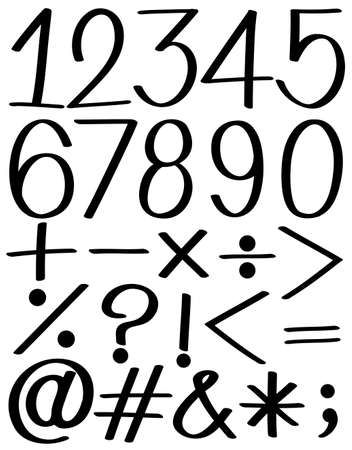 Set of numbers and symbols in black color Vector