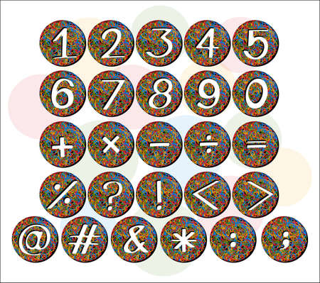 Set of numbers and signs on colorful circles Vector