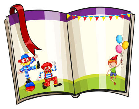 grass close up: Border of a book with circus theme design Illustration