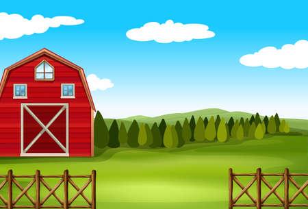 tress: Barn on a farm with fence