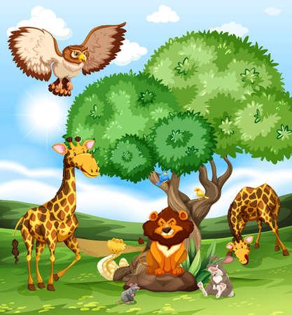 Animals gathering near a big tree Illustration