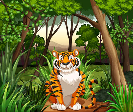 plant stand: Tiger sitting in a jungle