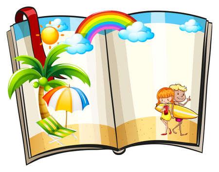 Open book with summer theme design Vector