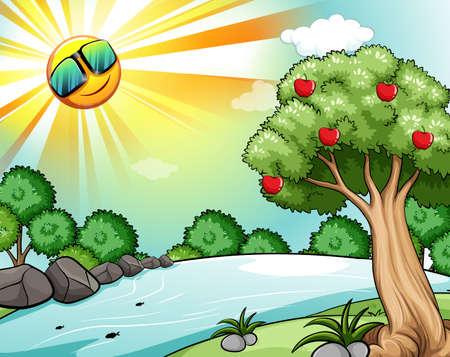 manzana caricatura: Paisaje de un sol brillante y el río con árboles en el lado