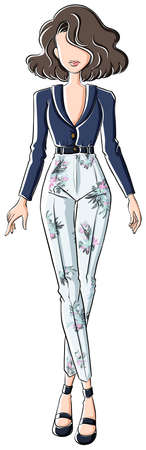 white pants: Sketch of a woman in blue top and high waist white pants with flower design Illustration
