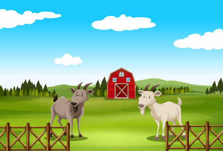 drawing board: Poster of a farm with barn and goat