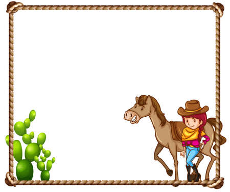 horse clipart: Frame of cowgirl with a horse and cactus plant