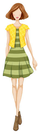 green dress: Sketch of a female in green dress and yellow jacket