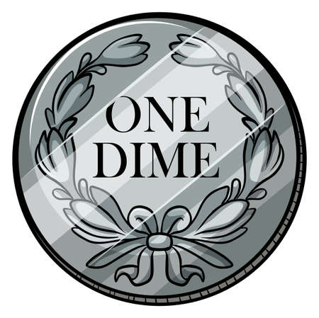 dime: One dime coin on white background Illustration