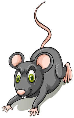 rata caricatura: Rata negro sobre fondo blanco
