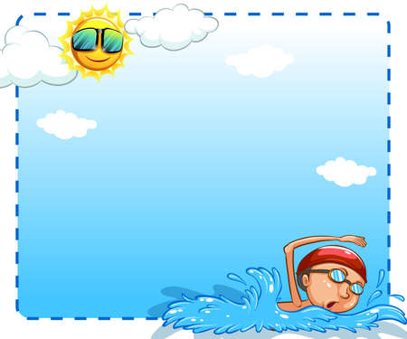 Boy swimming on a sunny day design frame Vector