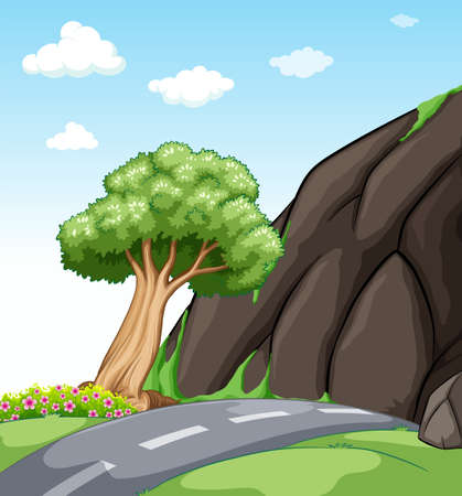 grasses: Road with green grasses and tree on the sideways Illustration