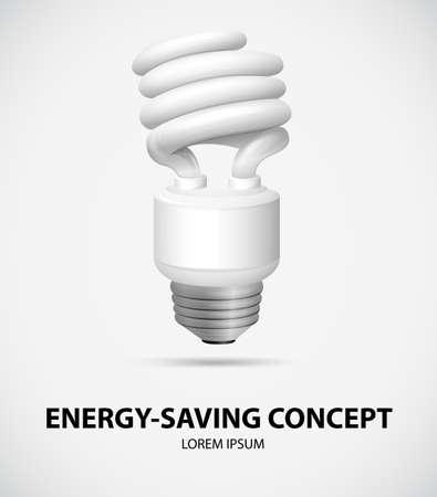 bombillo ahorrador: Cartel de una bombilla que ahorra energ�a Vectores
