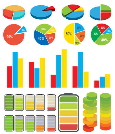 numbers: Coloful Graphs ans charts on white background