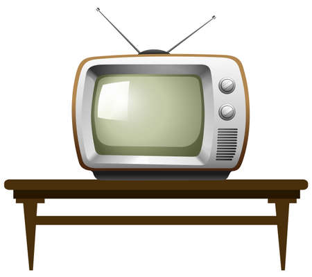 old television: Old television on a table Illustration