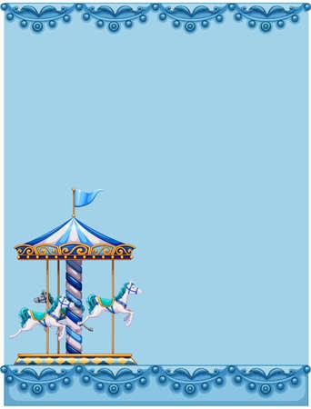 merry go round: Merry go round design on blue paper