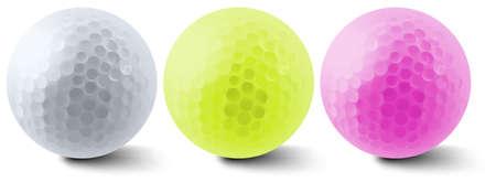 Mutli color three golf balls