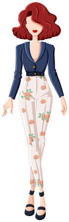 white pants: Sketch of a woman in long sleeves blue top and white pants with flower design Illustration