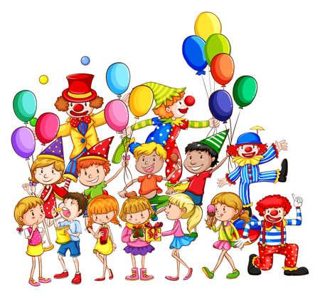 payasos caricatura: Muchos ni�os que se divierten en la fiesta
