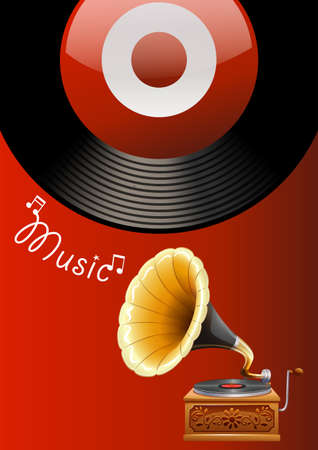 clipart speaker: Music poster with juke box and recorder Illustration
