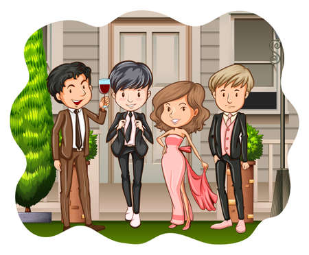 dress suit: Group of people in dress and suit at the party Illustration