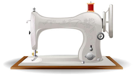 Closeup of classic design of sewing machine Vector